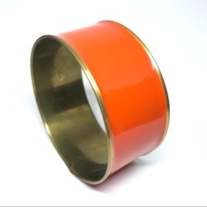 VINTAGE Orange Enamel Wide Metal Bangle Bracelet
